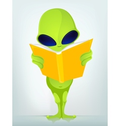 Cartoon Book Reading Alien vector image vector image