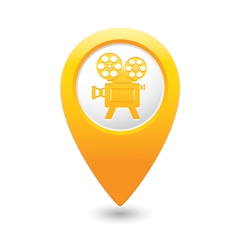 cinema icon yellow map pointer vector image
