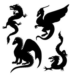 Dragon silhouettes set vector