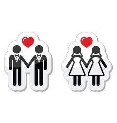 Gay marriage labels vector image vector image
