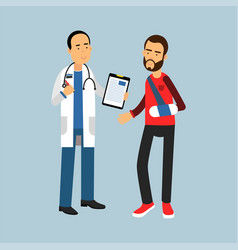 male doctor giving recommendations to the patient vector image
