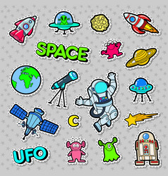 Space ufo robots and aliens badges patches vector