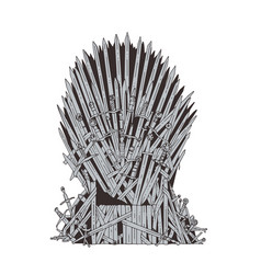 Hand drawn iron throne of westeros made of antique vector