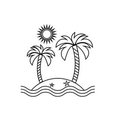 island linear icon travel tourism sun and palm vector image vector image