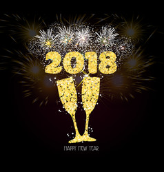 new year champagne toast golden 2018 background vector image