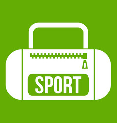 sports bag icon green vector image vector image