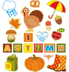 Autumn Set Textile Element vector image