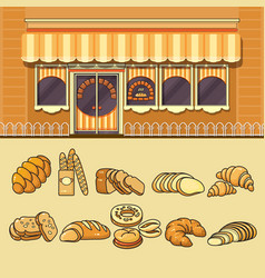 bakery shop facade and set of colorful food icons vector image