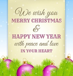 Christmas greeting on old paper with fir in vector image vector image