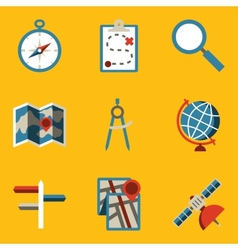 Flat icon set Navigation vector image vector image