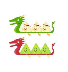 rice dumpling on dragon boat on white vector image