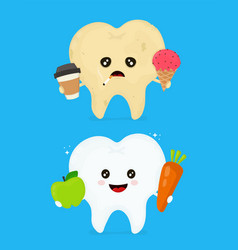 sick dirty unhealthy tooth with coffeeice vector image