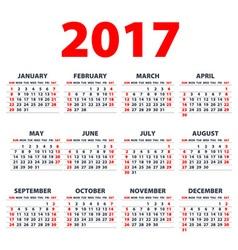 Calendar 2017 Week starts from Sunday flat design vector image