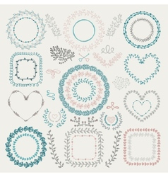 Colorful hand drawn floral frames wreaths vector