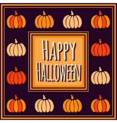 Halloween square frame with colorful pumpkins vector