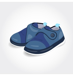 Realistic blue baby shoes for a boy vector image