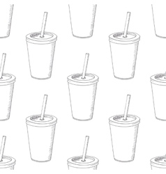 Seamless pattern with hand drawn cup of milk shake vector image vector image