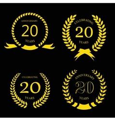 twenty years anniversary laurel gold wreath - 20 vector image vector image
