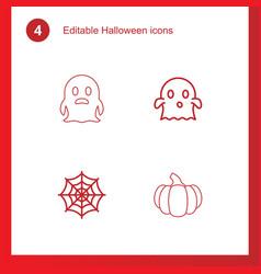4 halloween icons vector