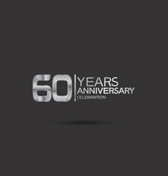60 years anniversary logotype with silver color vector