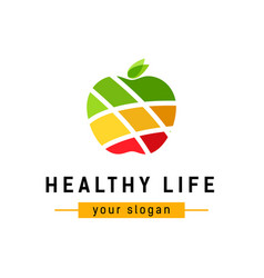Abstract color apple logo of company healthy food vector