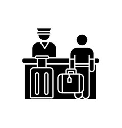 airport check in flat design long shadow glyph vector image