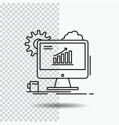 analytics chart seo web setting line icon on vector image