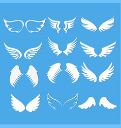 angel wings set blue background vector image