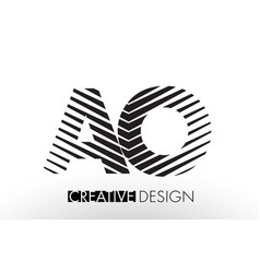 Ao a o lines letter design with creative elegant vector