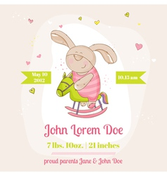 Baby Bunny on a Horse - Baby Shower Card vector image