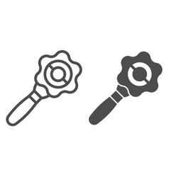 Baby rattle line and glyph icon attention toy vector