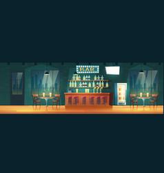 Bar in evening metropolis cartoon interior vector