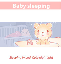 basleeping at night cute nightlight near bed vector image
