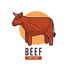 Beef fresh meat promotional emblem with adult cow vector