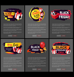 black friday big sale web pages with text set vector image