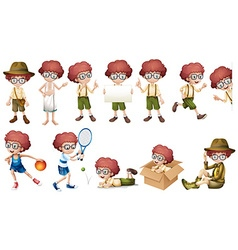 Boy character in different actions vector