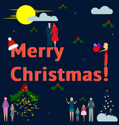 business and families celebrate merry christmas vector image