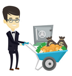 Business man depositing money in bank in safe vector