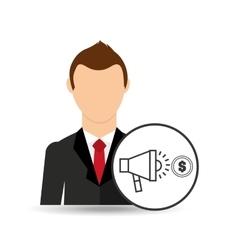 Businessman character speaker money market vector