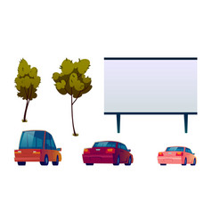 Car street cinema isolated elements icons set vector