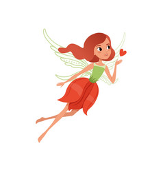 Cartoon fairy with red hair and flower shaped vector