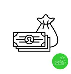 cash money icon pile money bills with bag vector image
