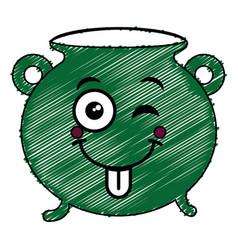cauldron of saint patrick kawaii character vector image