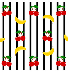 cherries and bananas on a black stripes vector image