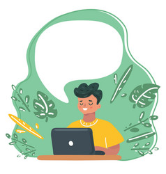 child blogging concentrated boy with laptop vector image