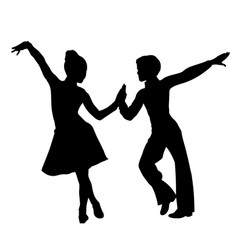 children latin dancers couple silhouette vector image