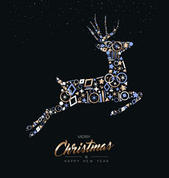 Christmas and new year deer shape copper icon set vector