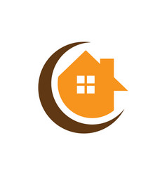 circle home building logo vector image