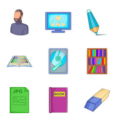 civil servant icons set cartoon style vector image