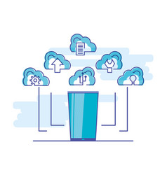 cloud computing network with smartphone vector image